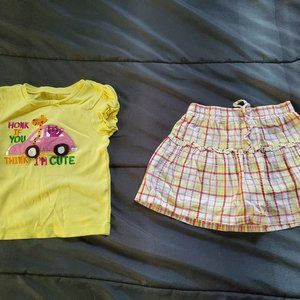 girl 3t plaid skort and top